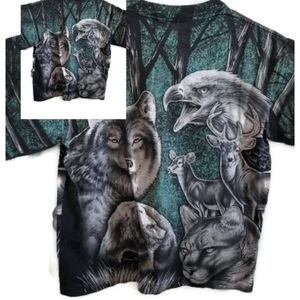 90s All Over Print Animal Tshirt Double Sided